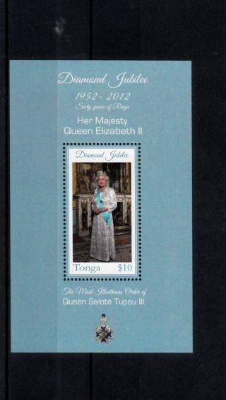 Tonga 2012 Diamond Jubilee Queen Elizabeth Ii 1v Sheet Salote Tupou Iii photo