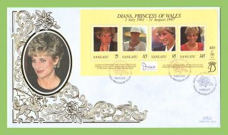 Vanuatu 1998 Princess Diana Memorial Silk First Day Cover photo