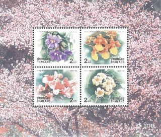 Thailand Stamp,  1999 Ss205 Year S/s,  Flower,  Flora,  Blossom,  Plant photo