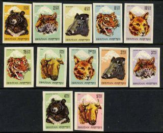 Bhutan 56 - 67 Imperf Animals,  Bear,  Dog,  Tiger photo