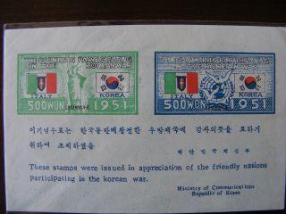 Korea 1952 Un Korean War Italy Flag (. F - Vf) photo