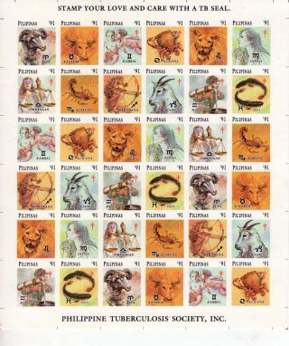 1991 Philippines Phil.  Tb Society,  Inc.  Zodiac Signs photo