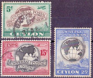 Ceylon 75th Anniv Of Universal Postal Union 1949 Sg410 To Sg412 photo