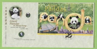 Hong Kong 1999 Giant Pandas In Hk Miniature Sheet On First Day Cover photo