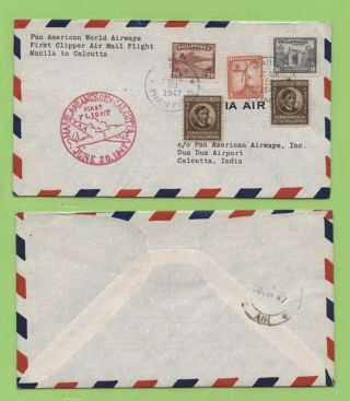 Phillipines 1947 P.  A.  A.  First Airmail Flight Manila - Calcutta Cover With Cachet photo