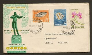 Singapore Qantas First Flight Cover 1965 Sydney Vienna Very Good Cancellations photo