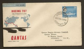 Singapore Qantas First Flight Cover 1959 Sydney London Very Good Cancellations photo