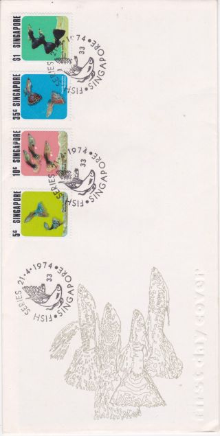 Singapore - 1974 First Day Cover (fdc).  Fish Series.  No.  F74 - 1 photo