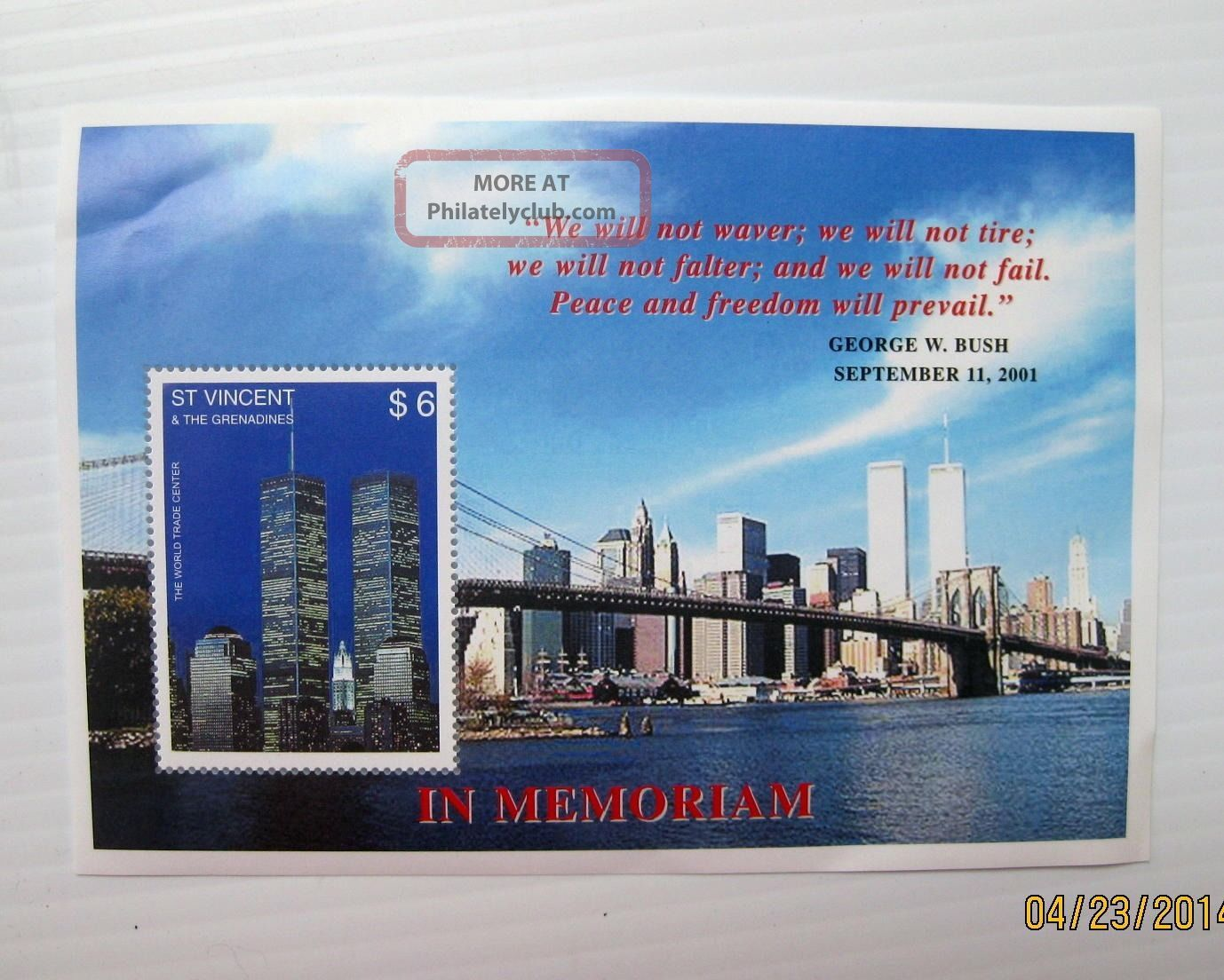 World Trade Center Wtc Postage Stamp Twin Towers 9/11 Grenadines $6 Postage Caribbean photo