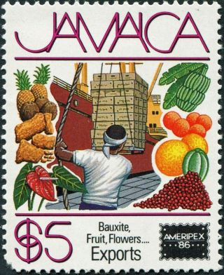 Jamaica 1986 $5 Multicoloured Sg654 Cv £7.  50 F Mh Postage photo