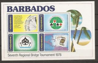 Barbados Sc 478a Seventh Regional Bridge Tournament.  Souvenir Sheet. photo
