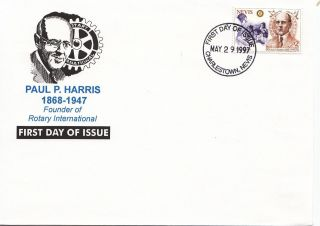 (22455) Nevis Fdc - Rotary International - Paul P Harris 1997 photo