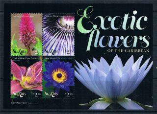St Kitts 2011 Exotic Flowers 4v Sheet photo