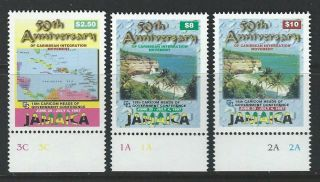 Jamaica 1997 Sc 865a - 865c Maps Flowers photo