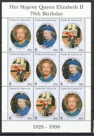 Turks & Caicos 1996 - 70th Anniv Queen Elizabeth Ii Mini Sheet photo