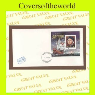 Nevis 1986 Discovery Of America,  Columbus Miniature Sheet First Day Cover photo