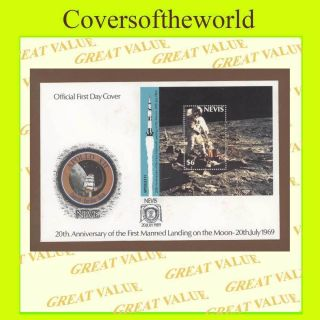 Nevis 1989 20th Anniversary Of Moon Landing Miniature Sheet First Day Cover photo