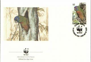(70185) Fdc Wwf St Lucia - Amazona - 1987 photo