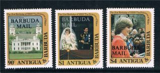 Barbuda 1982 21st B/day Of P.  Diana Large O/pt Sg 628/30 photo