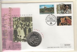 1997 Turks And Caicos 5 Crowns Coin Golden Wedding Fdc photo