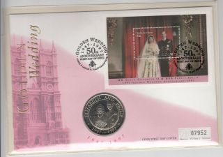 1997 Turks And Caicos 5 Crowns Coin Golden Wedding Fdc $2.  Ms photo