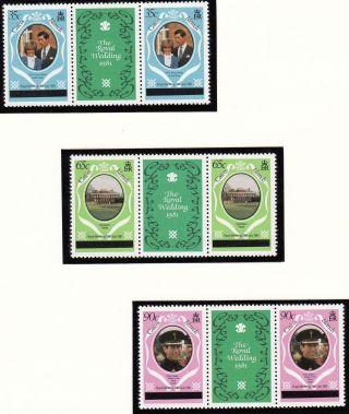(71433) Caicos Islands - Gutter Pairs Overprint - Princess Diana Wedding 1981 photo