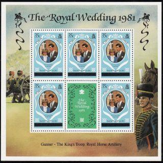 (71438) Caicos Islands - Minisheet Overprint - Princess Diana Wedding 1981 photo