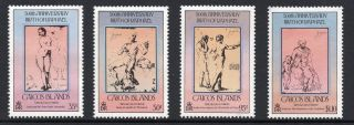 Caicos Is 1981 Royal Wedding + Minisheet Sg 8b - 10b + Ms11b York Overprnt U/m photo
