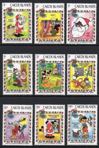 Caicos Islands 1983 Christmas Disney Cartoon Characters Sg 30 - 38 Un/mint photo