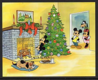 Caicos Islands 1983 Christmas Disney Cartoons Mini Sheet Sg Ms39 Unmounted photo