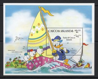 Caicos Islands 1984 Easter Disney Cartoon Characters Minisheet Sg Ms 54 Un/mint photo