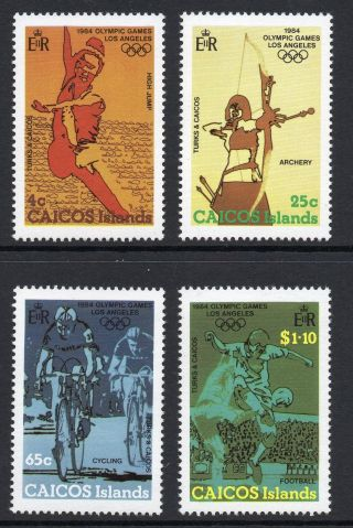 Caicos Islands 1984 Olympic Games Los Angeles Sg 45 - 48 Unmounted photo