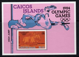 Caicos Islands 1984 Olympic Games Miniature Sheet Sg Ms49 Unmounted photo