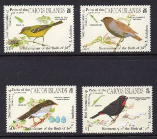 Caicos Islands 1985 Birds Audubon Birth Bicentenary Sg 68 - 71 Unmounted photo