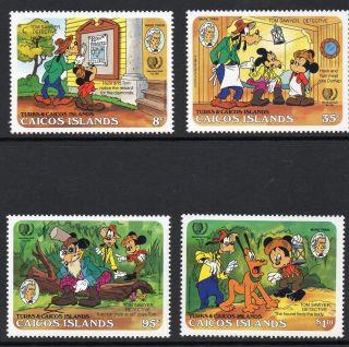 Caicos Islands 1985 Mark Twain Anniv Disney Characters Sg 86 - 89 Unmounted photo
