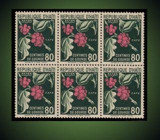 1951 Haiti Blok Of 6 - Coffee Never Hinged photo