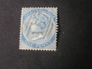 Jamaica,  Scott 17,  1p.  Value Blue Qv.  1884 Wmk Crown Ca Issue photo