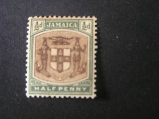Jamaica,  Scott 33,  1/2p.  Value Green & Black Coat Of Arms 1903 - 04 Issue Mh photo