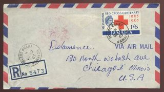 Jamaica Registered Myers Wharf 1963 Red Cross 1/6 To Chicago Universal Etiquette photo