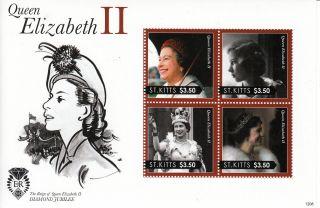 St Kitts 2012 Diamond Jubilee 4v Sheet Queen Elizabeth Ii Reign Royalty photo