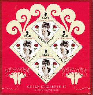 Turks & Caicos Island 2012 Diamond Jubilee 4v Sheet Queen Elizabeth Ii photo