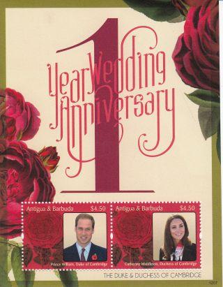 Antigua & Barbuda 2012 1st Wedding Anniversary 2v Sheet Prince William Kate photo