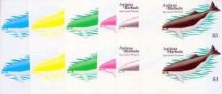 1983 Antigua Barbuda Whales $3 Spectacled Porpoise Imperf Progressive Proofs (6) photo
