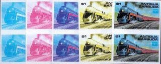 1986 Antigua Ameripex Trains $1 Powhattan Arrow Imperf Progressive Proofs (5) photo