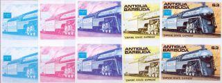 1986 Antigua Ameripex Trains $3 Empire State Express Imperf Progressive Proofs photo