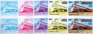 1986 Antigua Ameripex Trains 25¢ Hiawatha Express Imperf Progressive Proofs (5) photo