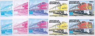 1986 Antigua Ameripex Trains 50¢ Grand Canyon Exp.  Imperf Progressive Proofs (5) photo