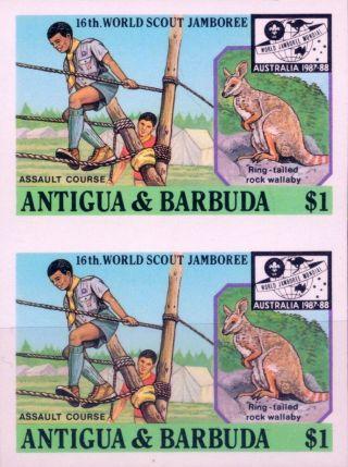1987 Antigua & Barbuda 16th World Scout Jamboree Australia $1 Imperf Proofs (5) photo