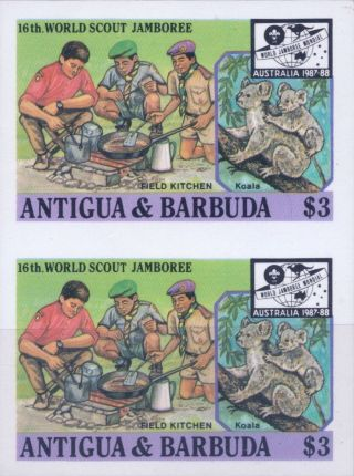1987 Antigua & Barbuda 16th World Scout Jamboree Australia $3 Imperf Proofs (5) photo