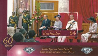 Barbados 2012 Diamond Jubilee Sg Ms1387 Royalty Queen Elizabeth Ii Philip photo